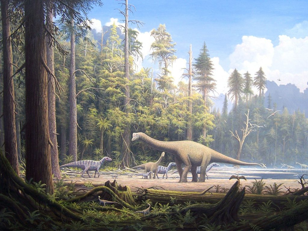 Painting of a late Jurassic Scene on one of the large island in the Lower Saxony basin in northern Germany. It shows an adult and a juvenile specimen of the sauropod Europasaurus holgeri and iguanodons passing by. There are two Compsognathus in the foreground and an Archaeopteryx at the right.